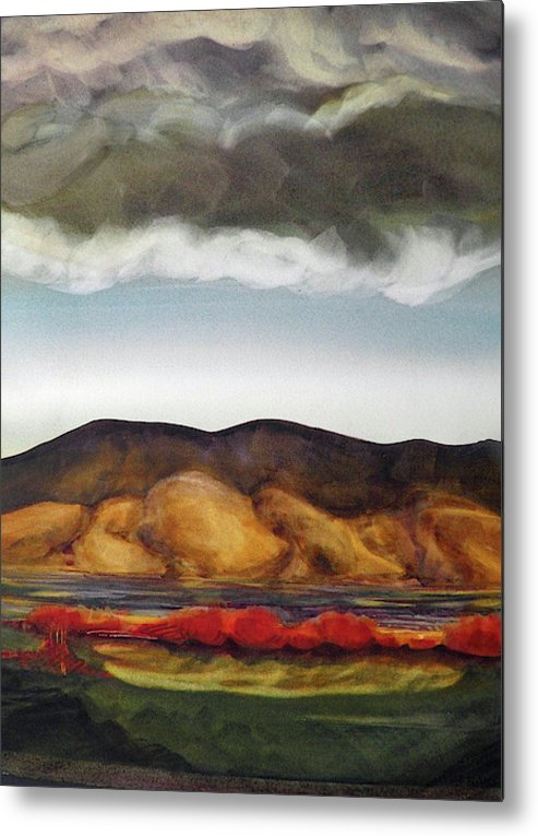 Golden Hills And The Coming Storm - Metal Print