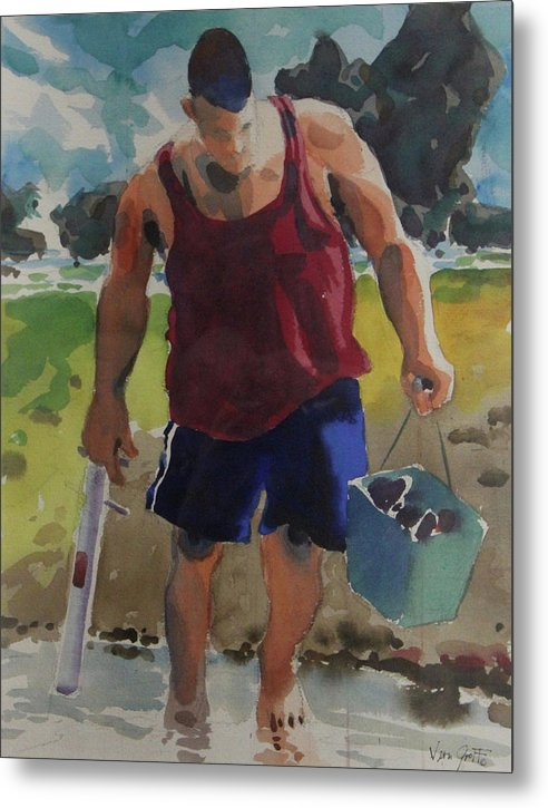 Looking For Dinner On The Beach - Metal Print