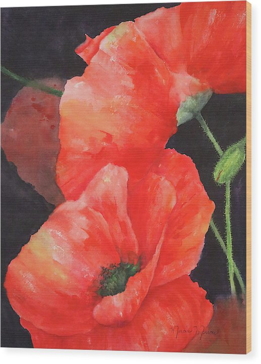 Poppies - Wood Print