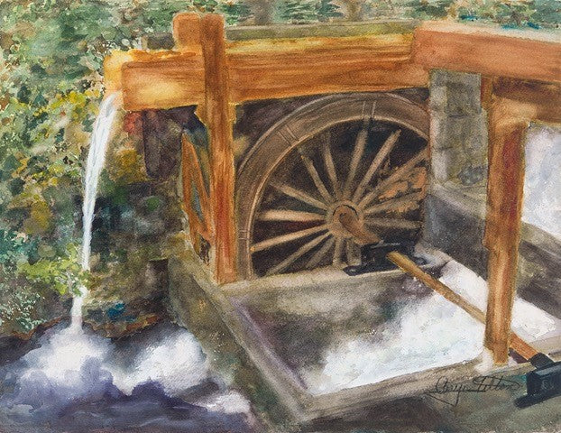 Historic Waterwheel, Government Camp, OR - Giclee Print