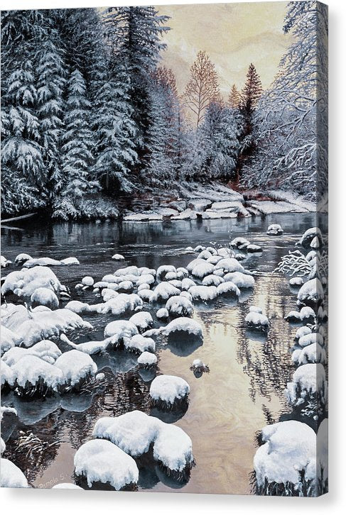 Winter On The Sandy River - Canvas Print
