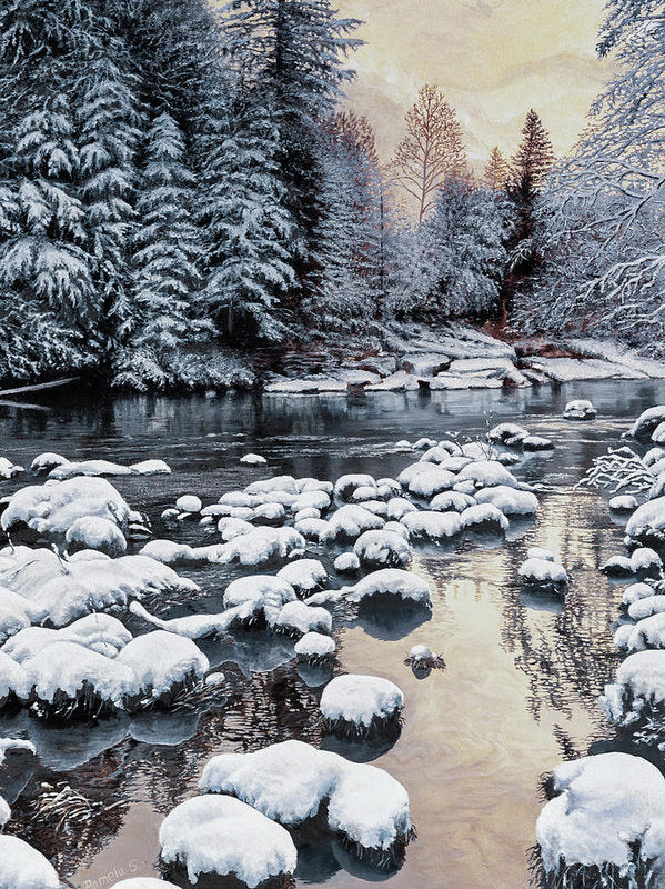 Winter On The Sandy River - Art Print