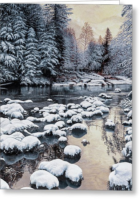 Winter On The Sandy River - Greeting Card