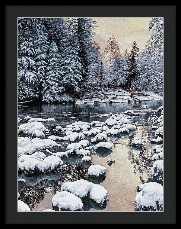 Winter On The Sandy River - Framed Print