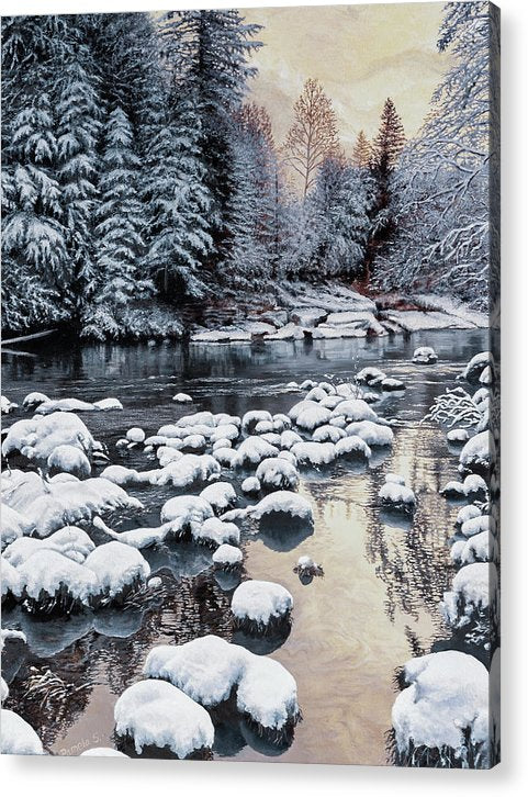 Winter On The Sandy River - Acrylic Print