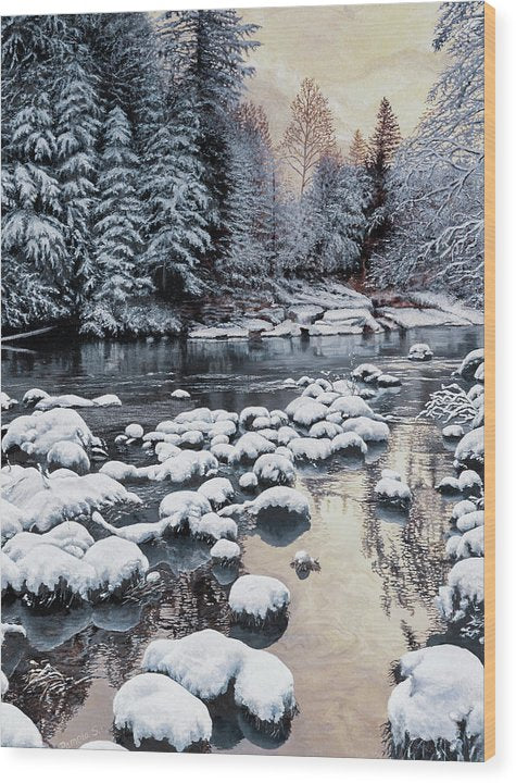 Winter On The Sandy River - Wood Print