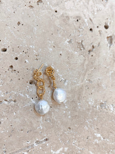 Gold Pearl Droplet Earrings