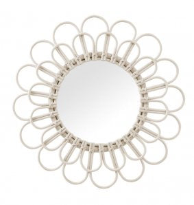 Rattan White Wash Mirror