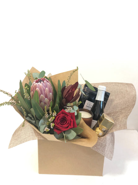 Valentines Gift hamper chocolates wine flowers roses delivery Sunshine Coast coolum beach florist flowers peregian beach peregian springs marcoola noosa mudjimba pacific paradise maroochydore mount coolum yaroomba natives hamper gift pack
