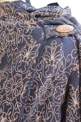 Floral Pancho Jacket-Black and Gold