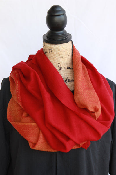Kasmiri Scarf-Red and Orange