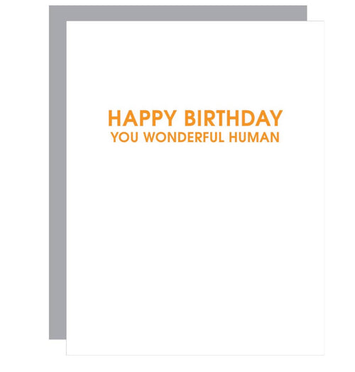 Wonderful Human Letterpress Birthday Card