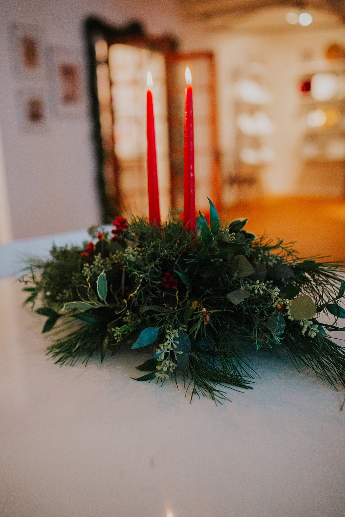 Traditional Holiday Centerpiece with Candle Accents