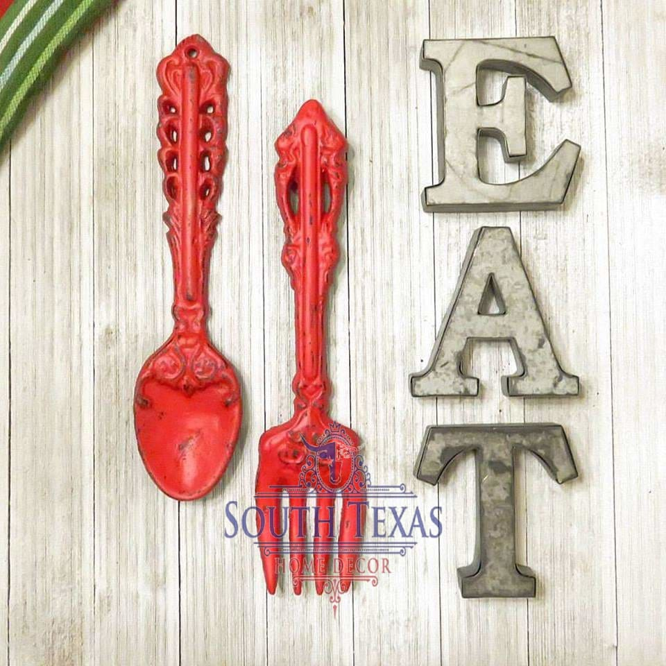 South Texas Home Decor Kitchen Wall Decor Kitchen Wall Art Eat Letters Fork Spoon Eat Sign Shabby