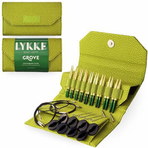 "Lykke Grove Bamboo 3.5"" Interchangeable Circular Knitting Needle Set - Green Basket Weave Effect"