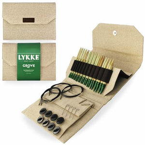 "Lykke Grove Bamboo 5"" Interchangeable Circular Knitting Needle Set - Natural Beige Jute Canvas"