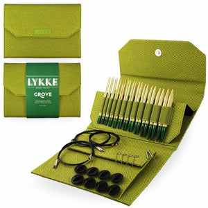 "Lykke Grove Bamboo 5"" Interchangeable Circular Knitting Needle Set - Green Basket Weave Effect"