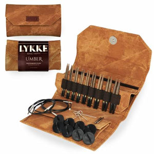 "Lykke Driftwood 3.5"" Interchangeable Circular Knitting Needle Set - Umber Denim Effect"