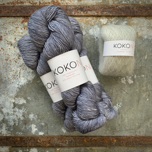 Crystalline Shawl Yarn Kit - Large - Kokon Merino Linen Licorice and Kokon Kidsilk Mohair Pistachio