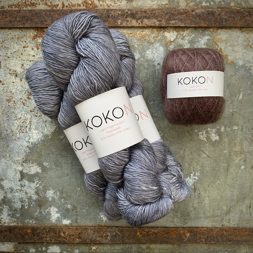 Crystalline Shawl Yarn Kit - Large - Kokon Merino Linen Licorice and Kokon Kidsilk Mohair Rust