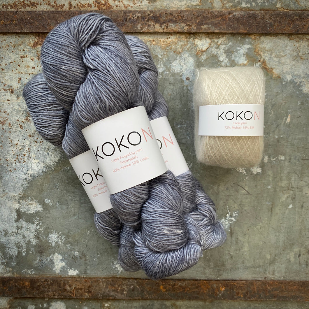 Crystalline Shawl Yarn Kit - Large - Kokon Merino Linen Licorice and Kokon Kidsilk Mohair Fog