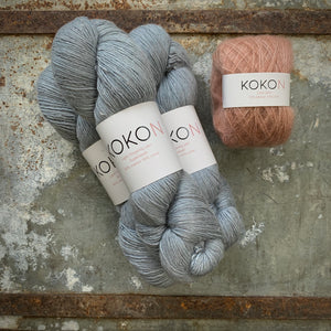Crystalline Shawl Yarn Kit - Large - Kokon Merino Linen  - Oxidized and Kokon Kidsilk Mohair - Copper