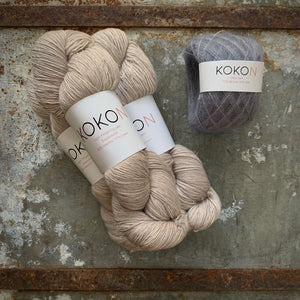 Crystalline Shawl Yarn Kit - Large - Kokon Merino Linen  - Moon and Kokon Kidsilk Mohair - Licorice