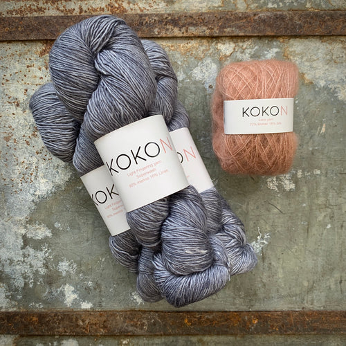Crystalline Shawl Yarn Kit - Large - Kokon Merino Linen Licorice and Kokon Kidsilk Mohair Copper