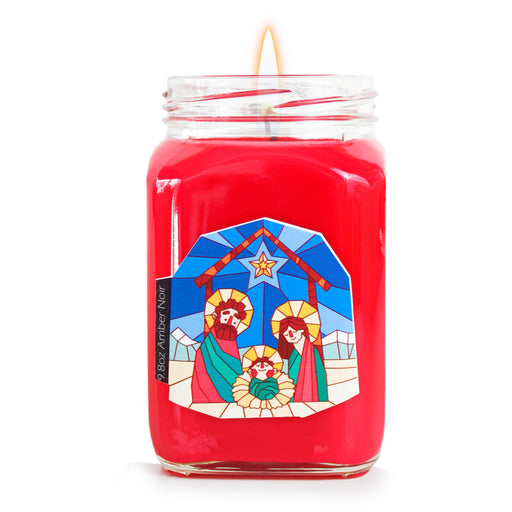 Amber Noir Religious Prayer Candle