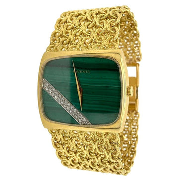 18 Karat Yellow Gold Malachite Diamond Wristwatch for Men