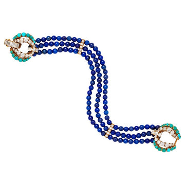 Cartier 18 Karat Gold, Lapis Luzuli, Turquoise and Diamond Multistrand Bracelet