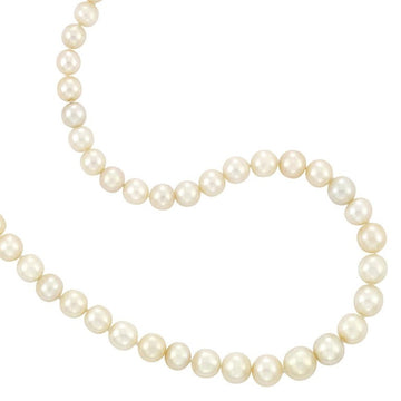 Natural and Cultured Pearl Necklace with Platinum and Diamond Clasp