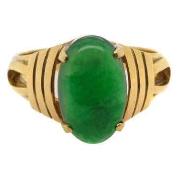 Important Imperial Jadeite Jade 20 Karat Gold Ring