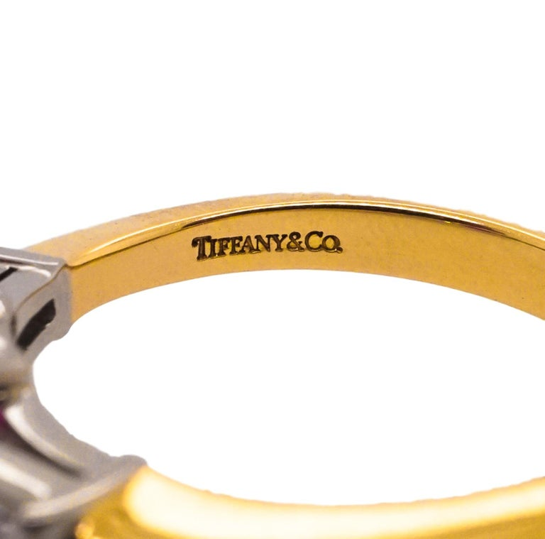 Tiffany & Co. 18 Karat Gold, Platinum, Ruby and Diamond Ring