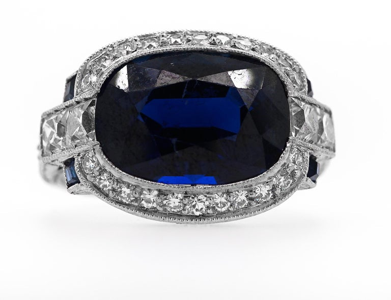Platinum and Sapphire and Diamond Ring