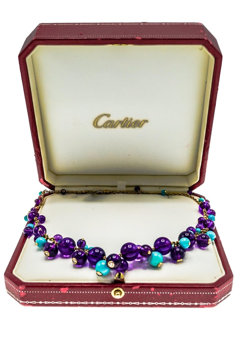 Cartier, France Turquoise, Amethyst and Diamond Necklace
