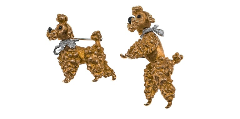 Cartier set of Diamond and Gold Dog Brooches