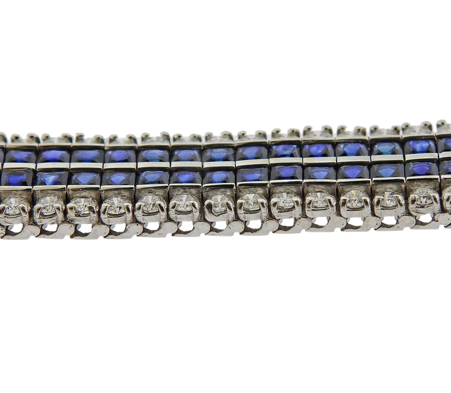 Platinum Diamond French Cut Sapphire Bracelet