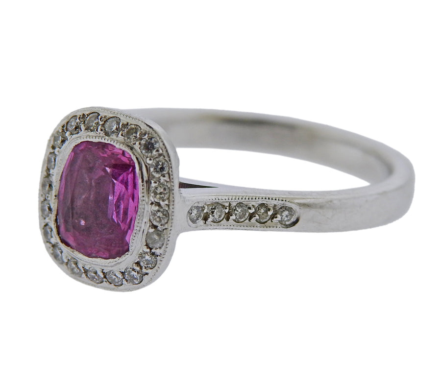 Pink Sapphire Diamond Gold Engagement Ring