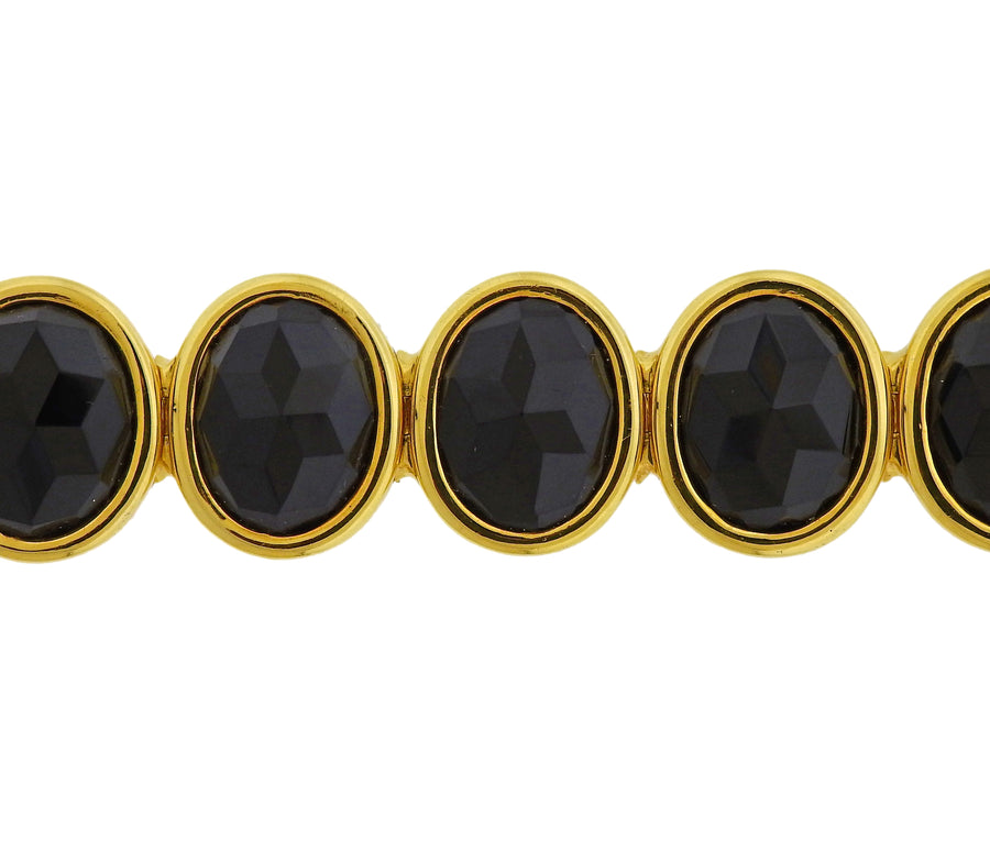 Faceted Onyx Gold Bracelet