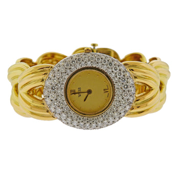 David Webb Diamond Gold Platinum Watch Bracelet