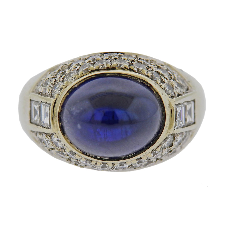 Sapphire Cabochon Diamond Gold Cocktail Ring