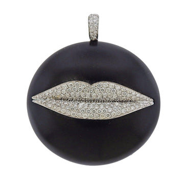 Enigma by Gianni Bulgari Jet Diamond Gold Lips Pendant