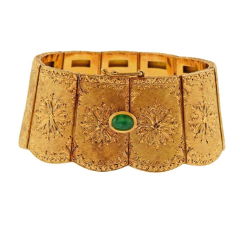 Cazzaniga 18 Karat Yellow Gold and Emerald Wide Bracelet