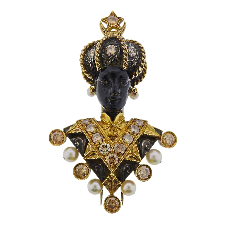 Nardi Blackamoor Fancy Diamond Pearl Garnet Gold Silver Brooch