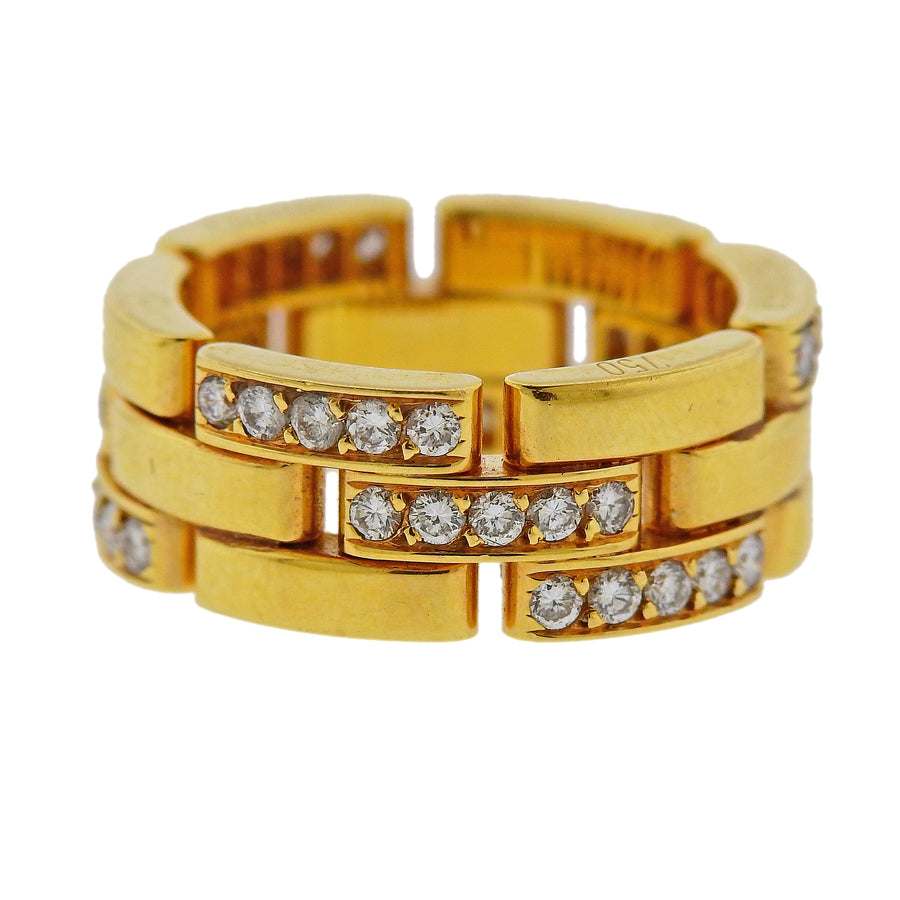 Cartier France 45 Round Diamond and Gold Panther Band Ring