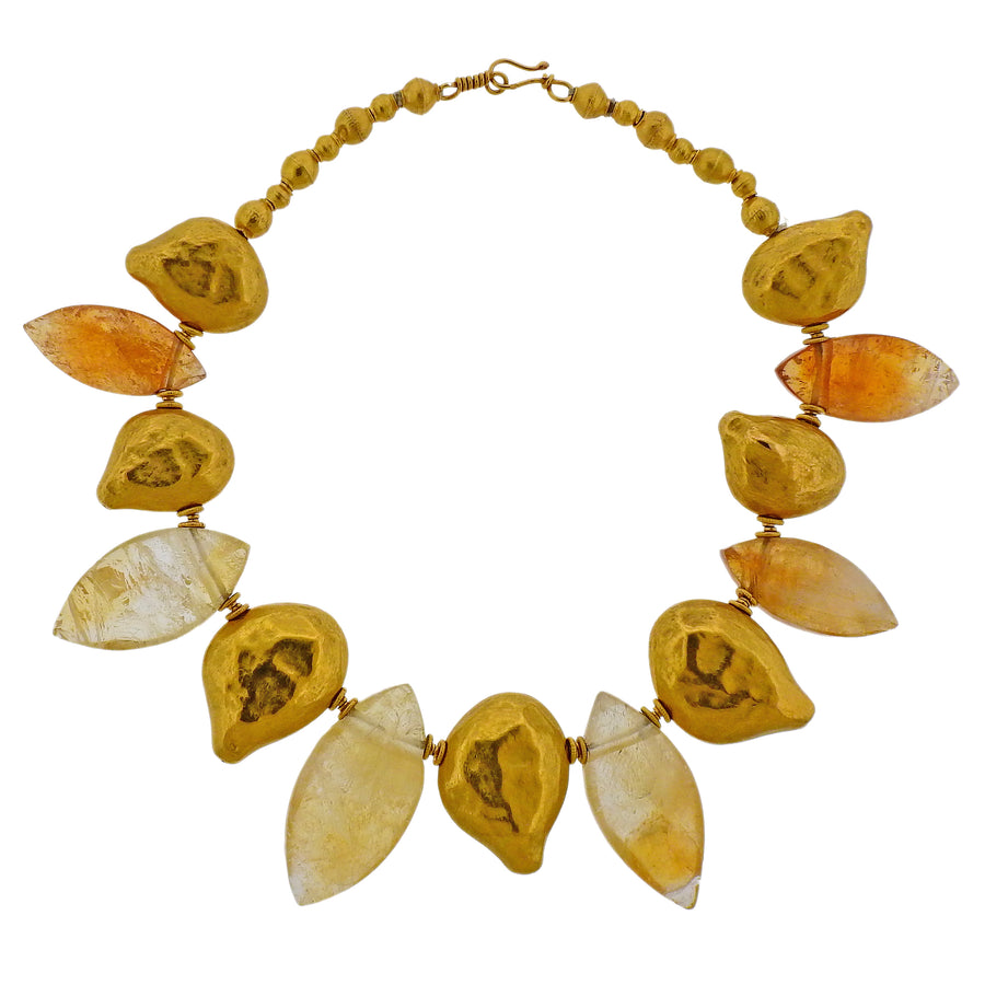 Gold Amber Necklace