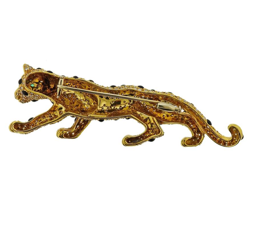 Diamond Onyx Emerald Gold Panther Brooch Pin