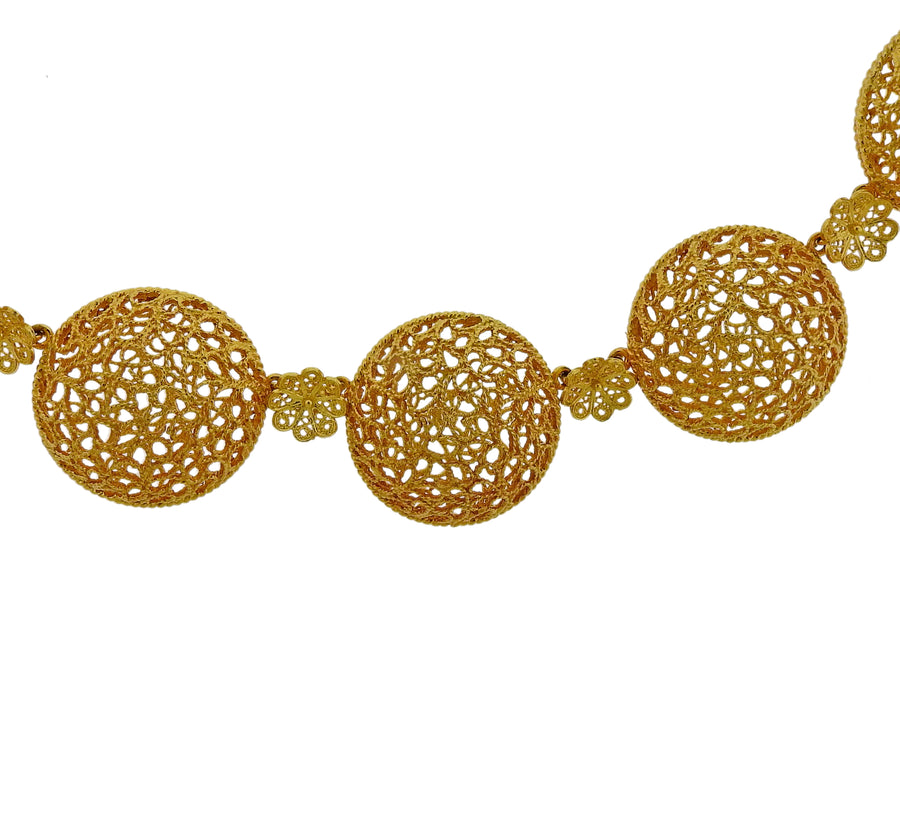 Buccellati 18 Karat Gold Open Works Filigree Round Necklace