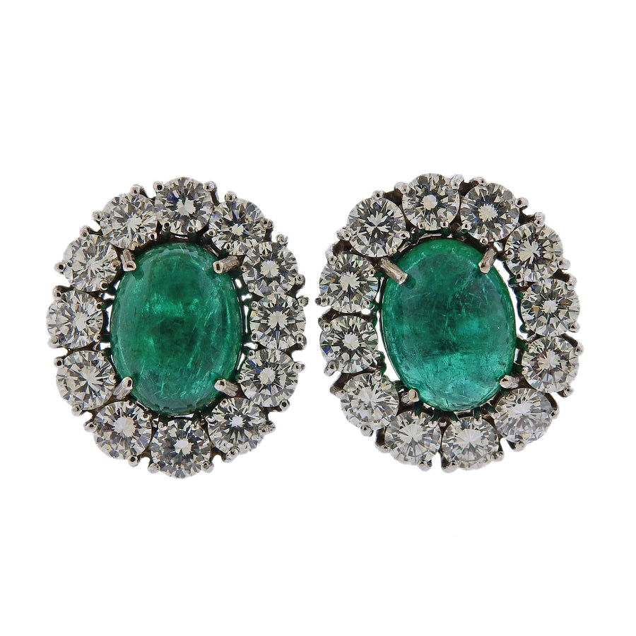 10 Carat Emerald Cabochon Diamond Gold Cocktail Earrings